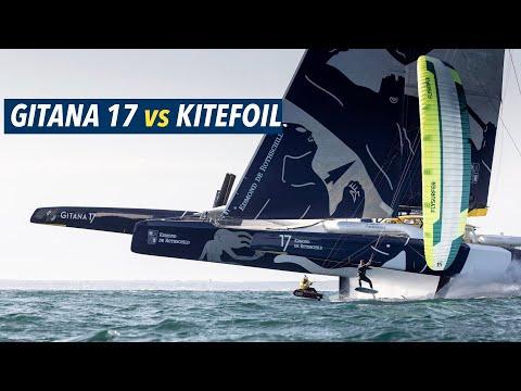 Kitefoil vs Gitana 17 Quand le Maxi Edmond de Rotschild se tire la bourre avec des kite foils