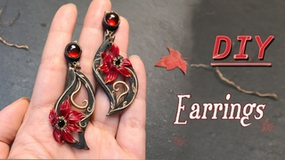 Polymer Clay Jewelry Flower Earrings tutorial,How to Making Art Nouveau Jewelry ,Red Lilium
