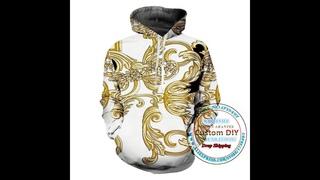 Роскошная цветочная толстовка с капюшоном для мужчин и женщин, 3d золотой цветочный принт, пуловер с капюшоном, толстовка,