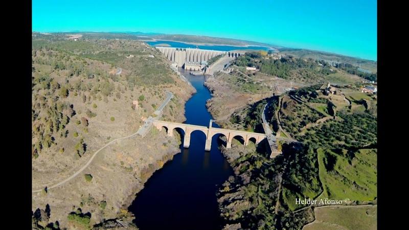 Alcántara Roman Bridge over Tagus river flight Cáceres Spain