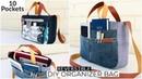 DIY BAG/REVERSIBLE ORGANIZER Zipper Pouch Bag/Carry-Shoulder-Cross body Bag/Reuse old Jeans/กระเป๋า