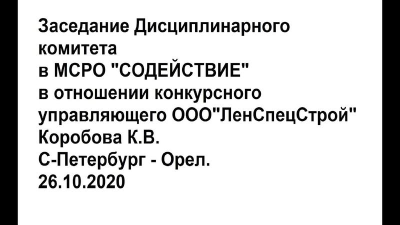 Банкротство ЛенСпецСтрой Заседание Дисциплинарного комитета