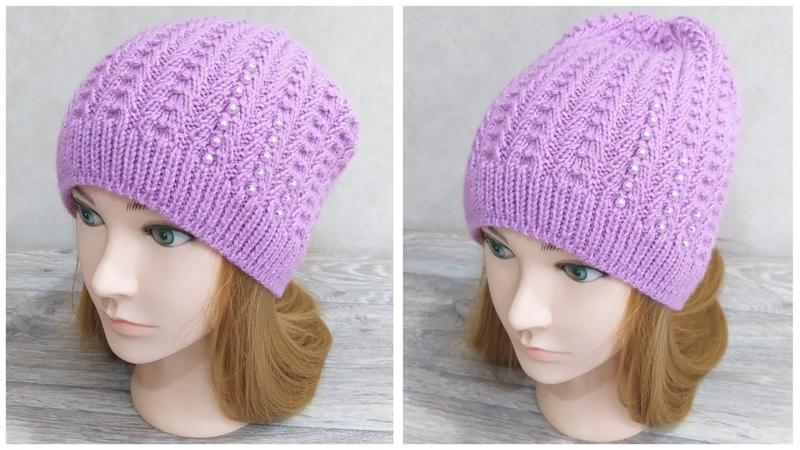 Женская шапка бини спицами узором Колокольчики