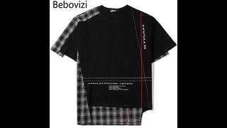 Мужские лоскутные футболки bebovizi в стиле хип хоп, уличная футболка в стиле панк в стиле харадзюку, летняя черная футболка с