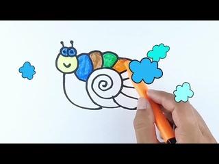 Нарисуйте картинку улитки для детей Draw a picture of a snail for children
