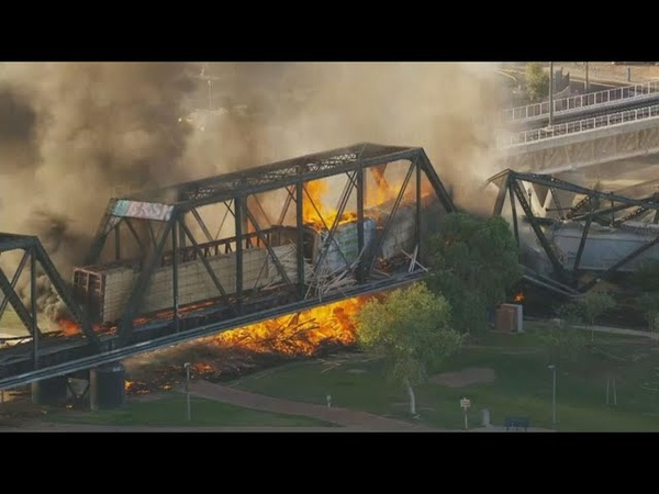 Firefighters from across the Valley respond to Tempe train fire and bridge collapse
