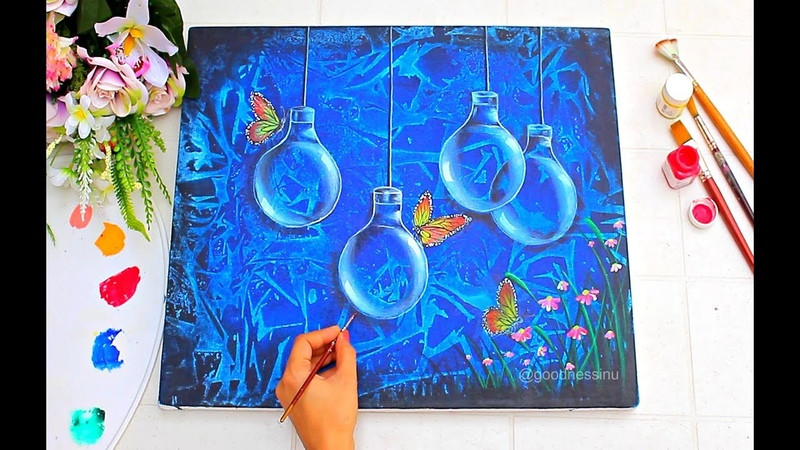 Easy Trick to make background using Acrylic Colours Step by Step Painting tutorial for Beginners