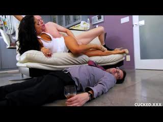 Sofi Ryan submissive cuckolding her drunk husband. [Brunette, Big Tits, Cuckold, Cheating, High Heels, Domination]