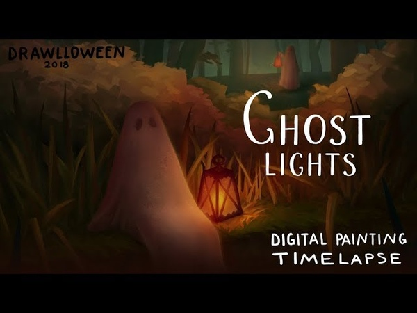 Ghost Lights process DRAWLLOWEEN 2018 day11 🌙 fictionalfriend