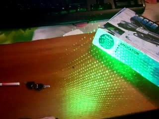 Мощный зеленый лазер 1000мВт класса |||b с насадкой