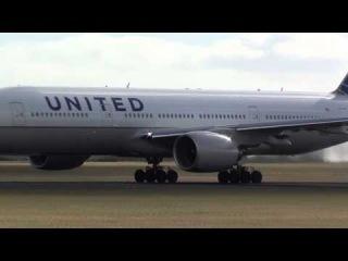 Female Pilot! United 777 Crosswind Take Off from Amsterdam!  [HD]