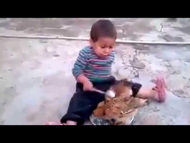Yemeğini tavuklara kaptıran çocuk