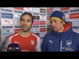 Arsenal vs QPR 2 : 1 - Mathieu Flamini & Tomas Rosicky post-match interview