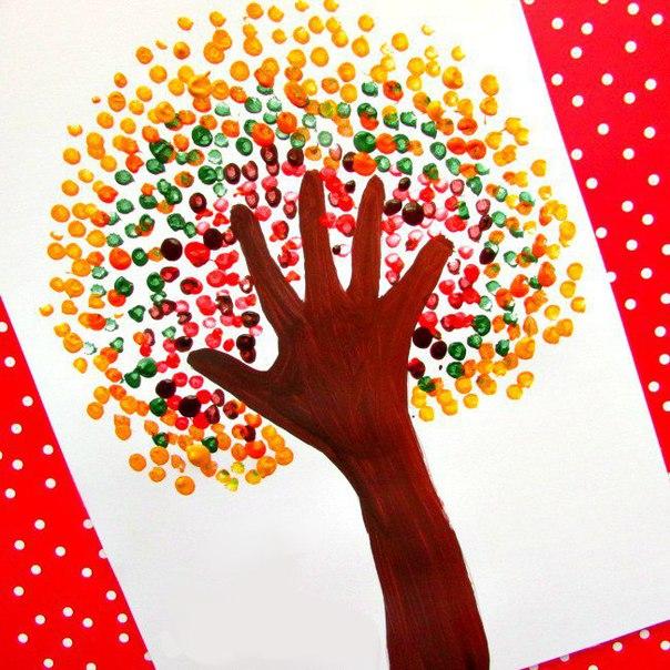 Пальчиковые краски рисунок осень  | Впервые мама - First-time-mama.ru
