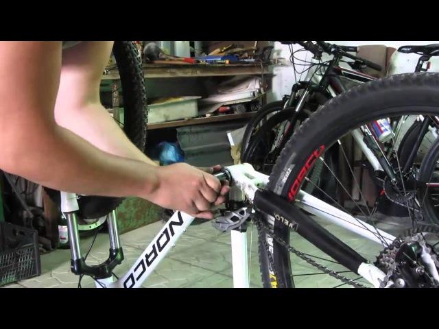 Снятие шатунов и разборка каретки велосипеда