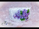 Wicker paper tutorial basket with flowers