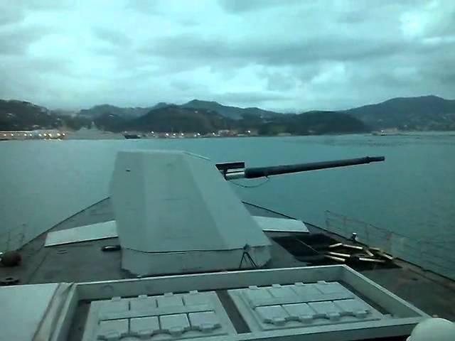 Italian FREMM frigate Bergamini firing the Otomelara 127/64 gun