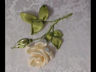 Вышивка лентами розы (стебель, листья, бутон) Embroidery ribbons rose (stem, leaf, Bud)