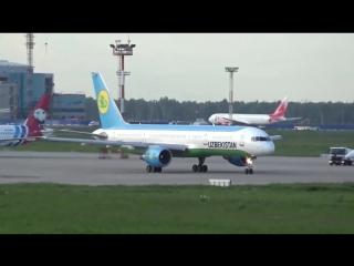Uzbekistan Airways Boeing 757-231 Departure from DME_UUDD_Moscow