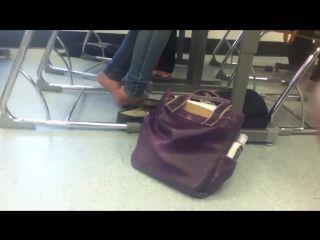 Candid sheer nylon feet shoeplay at school in flats