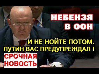 СРОЧНО. И не нoйтe потом: Путин вас пpeдyпpeждaл ! Небензя 3akoшмapuл в ООН