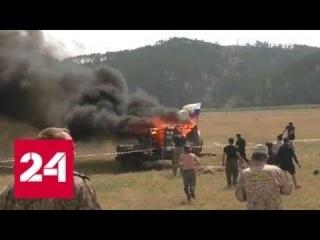 УАЗ взорвался и загорелся на соревнованиях джиперов в Забайкалье - Россия 24