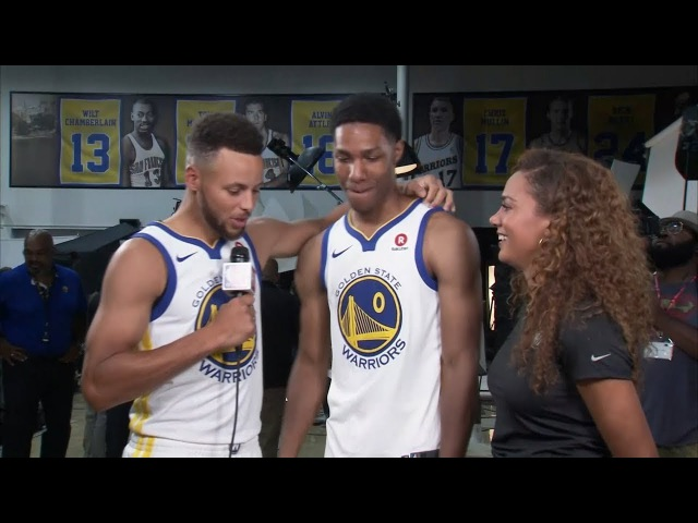 Stephen Curry Takes the Mic Jokes with Patrick McCaw 2018 Warriors Media Day