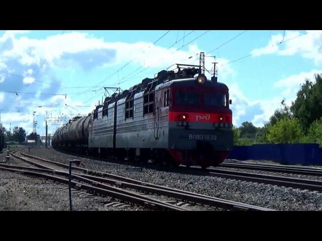 ВЛ80-1539 с грузовым составом и ЭС1-020 Ласточка. Станция Вязники