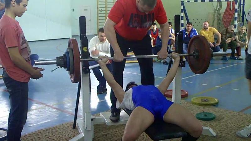 Губеев Айдар жим лежа 92.5кг при весе 71кг атлету18 лет