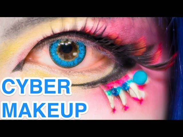 Japanese Big Eyes CYBER MAKEUP Lashes TUTORIAL by BAZOOKISTAN バズーキスタンの白塗りメイク講座