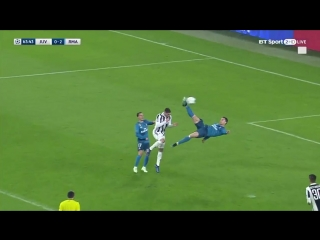 Cristiano Ronaldo scores a stunning overhead kick to put Real Madrid 2-0 up at Juventus