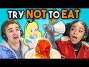 TRY NOT TO EAT CHALLENGE! 2 Teens College Kids Vs. Food