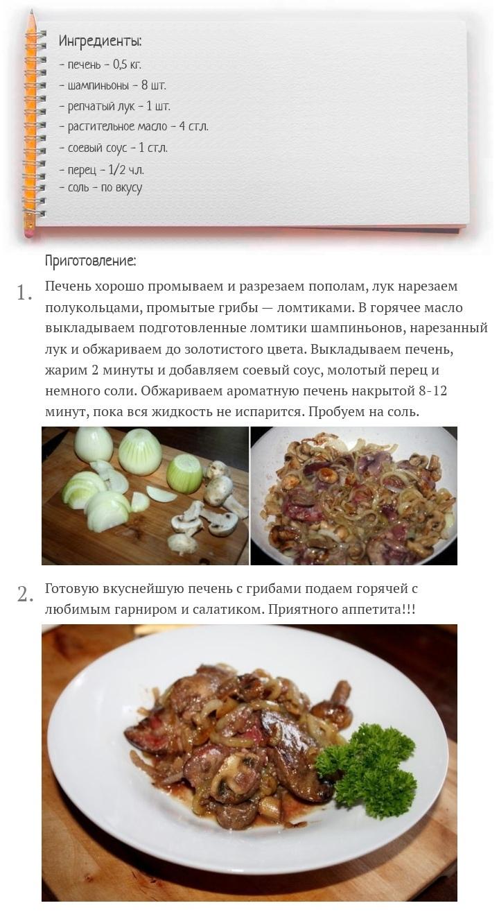 Жареная куриная печень с грибами, изображение №2