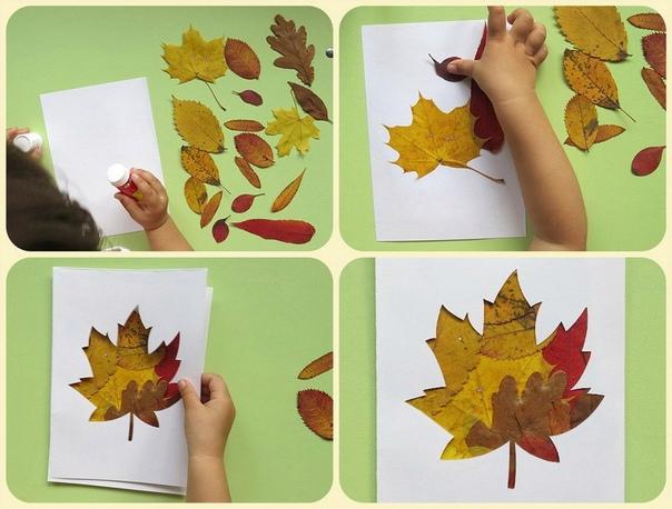 Делаем открытки друзьям. Наклеиваем клеем-карандашом листья на бумагу, сверху приклеиваем трафарет кленового листика,