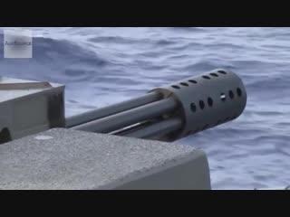Корабельный 20мм зенитный артиллерийский комплекс mark 15 vulcan phalanx работает по надводным мишеням