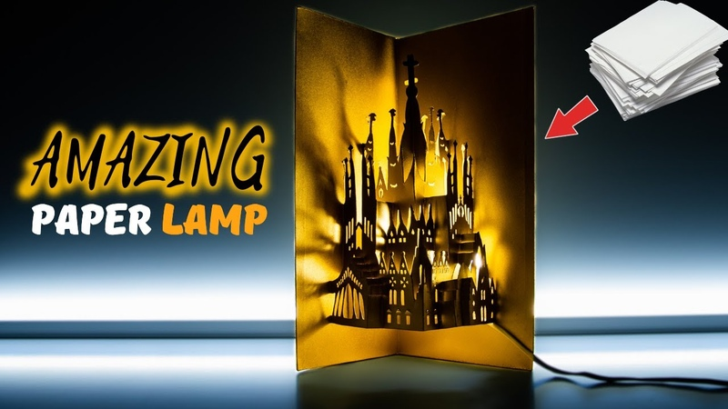 DIY AMAZING PAPER LAMP | How to make a KIRIGAMI CASTLE pop-up card | PAPER ART