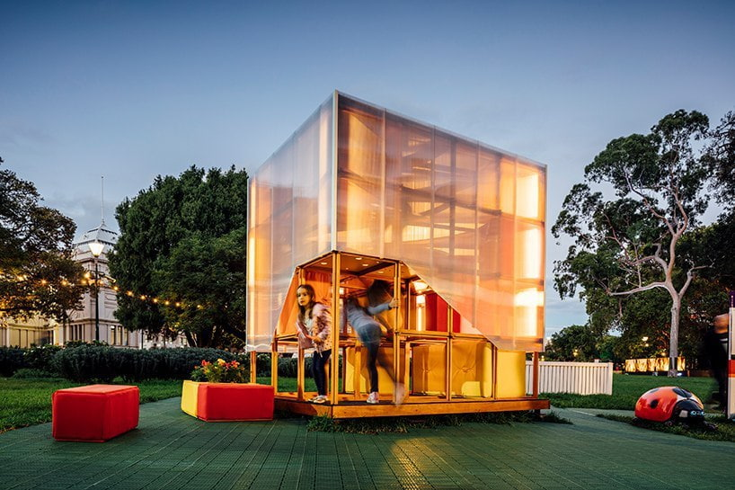 in australia, global architecture firm grimshaw has designed a child's play house as part of an initiative that aims to prevent youth homelessness.