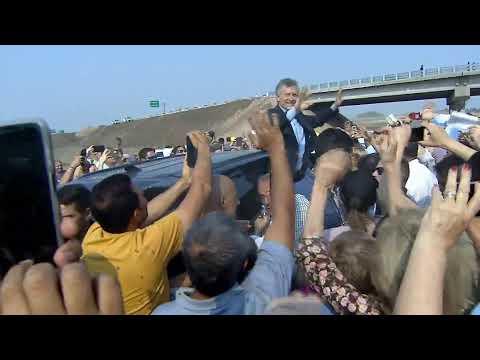 El presidente Macri recorrió las obras viales de la Ruta 8 en Arrecifes