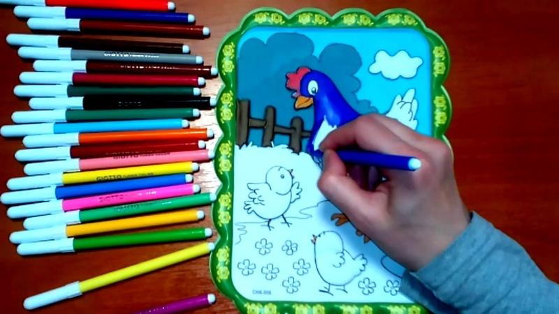 РАСКРАСКИ для детей: УЧИМ ЦВЕТА! Развивающее видео для детей КУРОЧКА и ЦЫПЛЯТА. 2