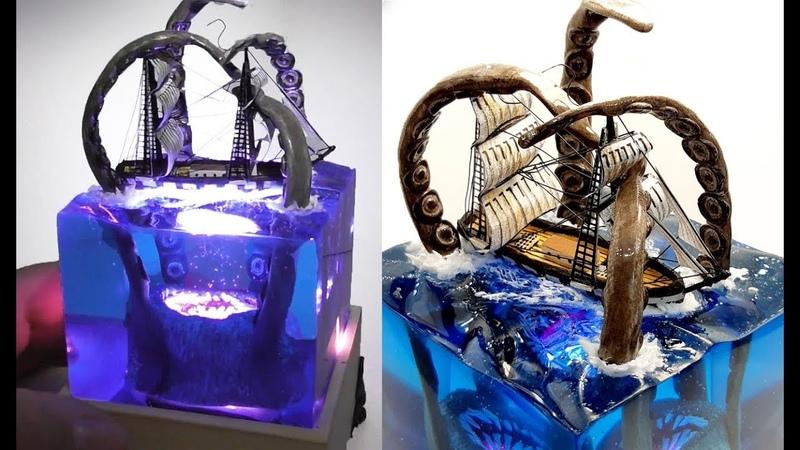 KRAKEN vs SHIP DIORAMA NIGHT LAMP EPOXY RESIN and WOOD DIY