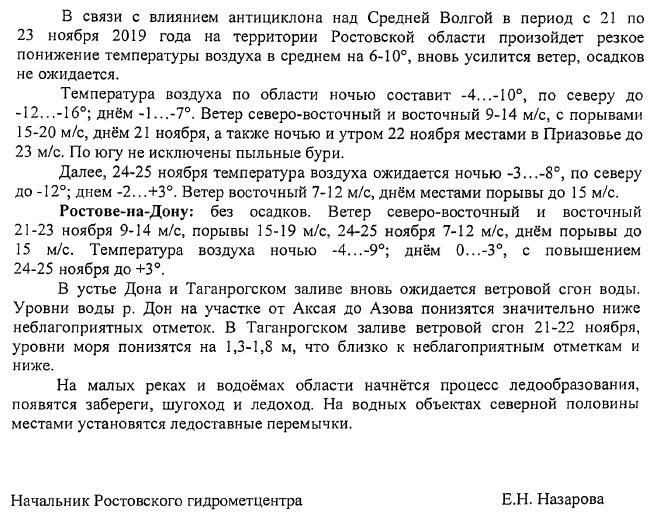 В городе Таганроге ожидается резкое понижение температуры и порывистый ветер до 20 м/с