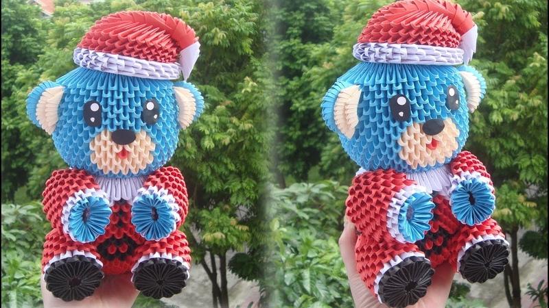 3D Origami Christmas Bear V5 Tutorial DIY Chirstmas Bear Christmas Decor