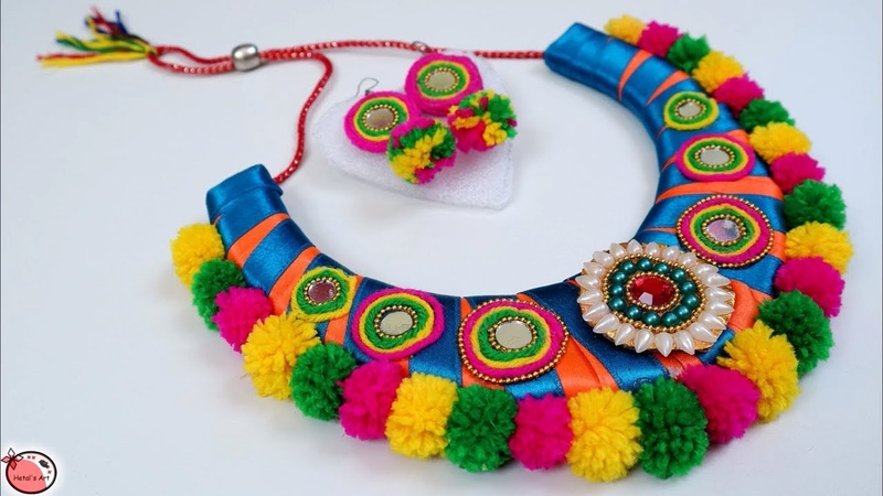 Very Easy DIY Necklace Making at Home Navratri Jewellery Handmade Navratri Ornaments Making