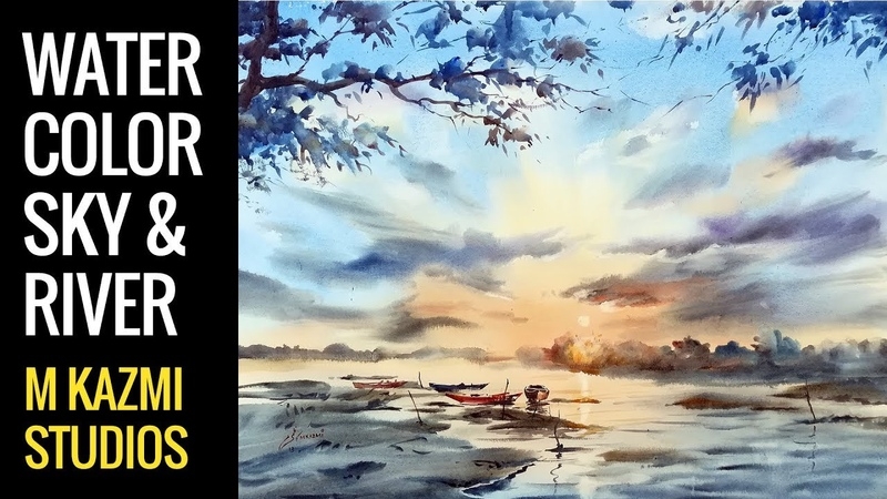 How to paint a sky or River in watercolor, watercolor tutorial for beginers M Kazmi Studios