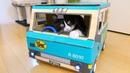 猫を乗せて走るクロネコヤマトのダンボールカーを作ってみた はじ 12417