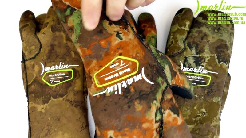 Перчатки трехпалые Marlin Nord Camo 7 мм green brown oliva