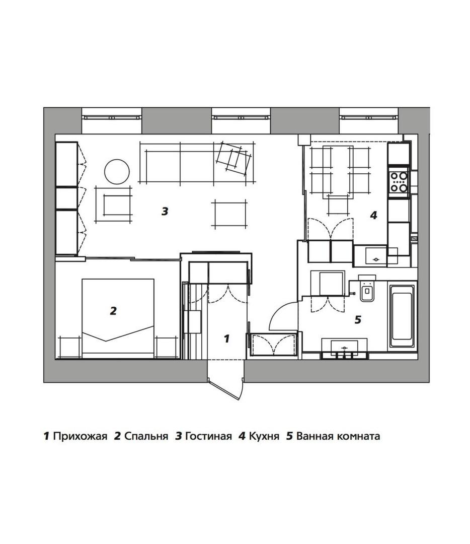 Квартира со скрытыми объемами, 54 м² от Иасона Гобеджишвили