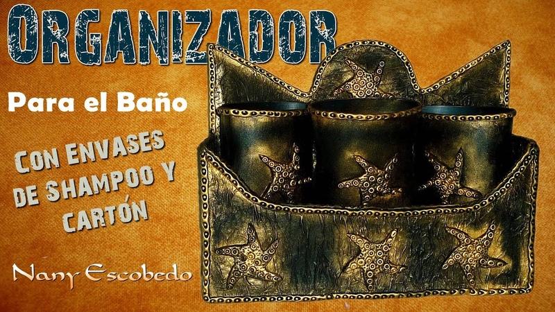 ORGANIZADOR PARA BAÑO CON ENVASES DE SHAMPOO Y CARTÓN