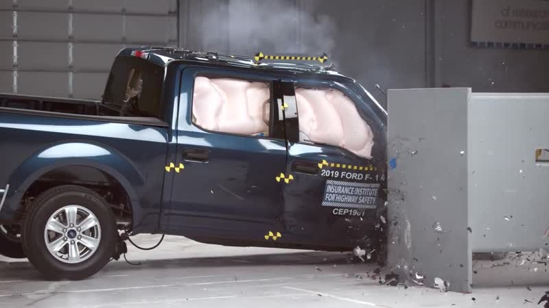 2019 Ford F 150 crew cab passenger side small overlap IIHS crash test