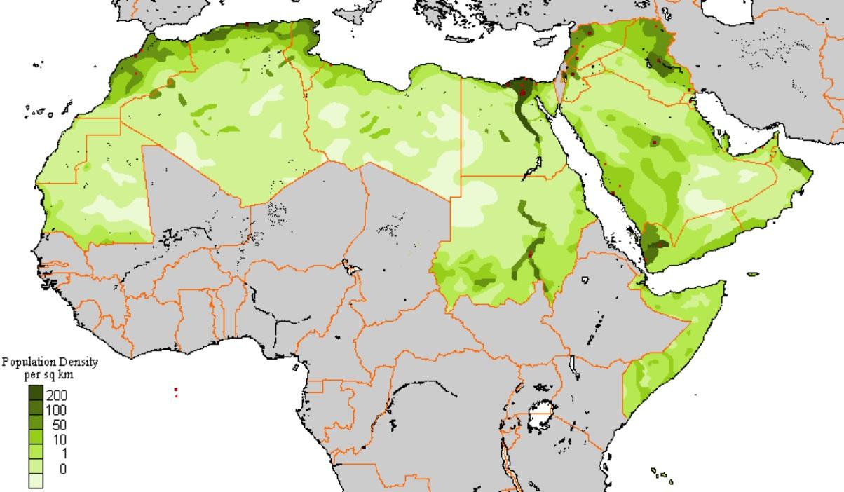 плотность населения арабских стран